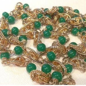 Vintage Textured Chain And Jadeite Bead Necklace